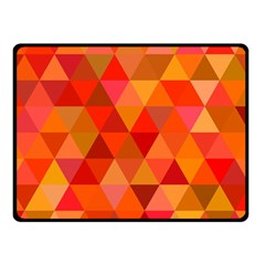 Red Hot Triangle Tile Mosaic Double Sided Fleece Blanket (small)