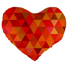 Red Hot Triangle Tile Mosaic Large 19  Premium Flano Heart Shape Cushions by Nexatart