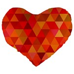 Red Hot Triangle Tile Mosaic Large 19  Premium Flano Heart Shape Cushions Back