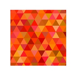 Red Hot Triangle Tile Mosaic Small Satin Scarf (square) by Nexatart