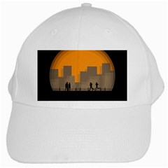 City Buildings Couple Man Women White Cap