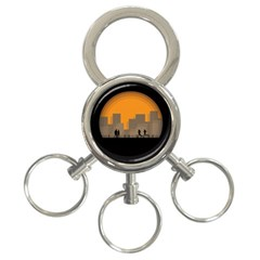 City Buildings Couple Man Women 3 Ring Key Chains