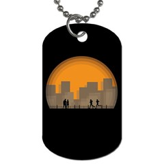 City Buildings Couple Man Women Dog Tag (one Side) by Nexatart