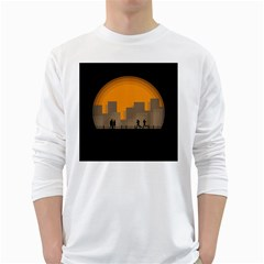 City Buildings Couple Man Women White Long Sleeve T Shirts