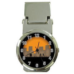 City Buildings Couple Man Women Money Clip Watches by Nexatart