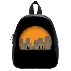 City Buildings Couple Man Women School Bag (small) by Nexatart