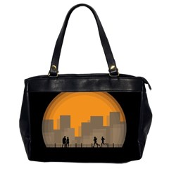 City Buildings Couple Man Women Office Handbags (2 Sides)