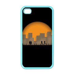 City Buildings Couple Man Women Apple Iphone 4 Case (color) by Nexatart