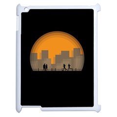 City Buildings Couple Man Women Apple Ipad 2 Case (white) by Nexatart