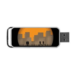 City Buildings Couple Man Women Portable Usb Flash (two Sides) by Nexatart