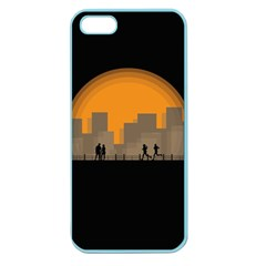 City Buildings Couple Man Women Apple Seamless Iphone 5 Case (color) by Nexatart