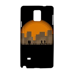 City Buildings Couple Man Women Samsung Galaxy Note 4 Hardshell Case by Nexatart