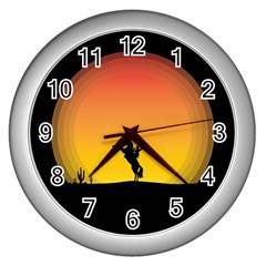 Horse Cowboy Sunset Western Riding Wall Clocks (silver)  by Nexatart