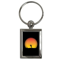 Horse Cowboy Sunset Western Riding Key Chains (rectangle)
