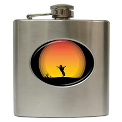 Horse Cowboy Sunset Western Riding Hip Flask (6 Oz)