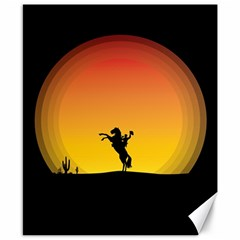 Horse Cowboy Sunset Western Riding Canvas 8  X 10  by Nexatart