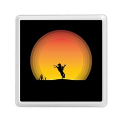 Horse Cowboy Sunset Western Riding Memory Card Reader (square)  by Nexatart
