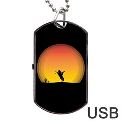 Horse Cowboy Sunset Western Riding Dog Tag Usb Flash (two Sides)