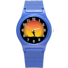 Horse Cowboy Sunset Western Riding Round Plastic Sport Watch (s) by Nexatart