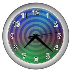 Blue Green Abstract Background Wall Clocks (silver)