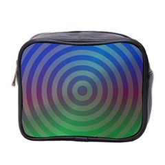 Blue Green Abstract Background Mini Toiletries Bag 2 Side