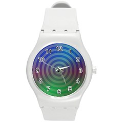 Blue Green Abstract Background Round Plastic Sport Watch (m) by Nexatart