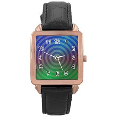 Blue Green Abstract Background Rose Gold Leather Watch