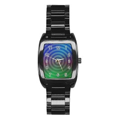 Blue Green Abstract Background Stainless Steel Barrel Watch by Nexatart