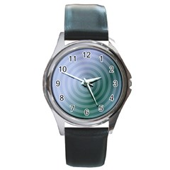 Teal Background Concentric Round Metal Watch
