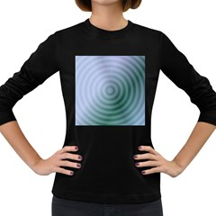 Teal Background Concentric Women s Long Sleeve Dark T Shirts