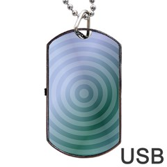 Teal Background Concentric Dog Tag Usb Flash (one Side)