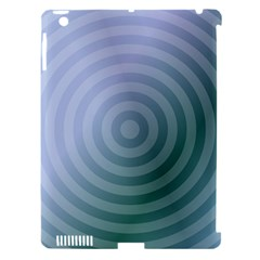 Teal Background Concentric Apple Ipad 3/4 Hardshell Case (compatible With Smart Cover) by Nexatart