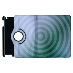 Teal Background Concentric Apple Ipad 2 Flip 360 Case by Nexatart