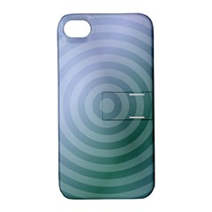 Teal Background Concentric Apple Iphone 4/4s Hardshell Case With Stand by Nexatart