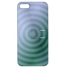 Teal Background Concentric Apple Iphone 5 Hardshell Case With Stand