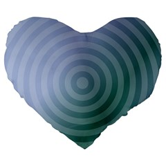 Teal Background Concentric Large 19  Premium Flano Heart Shape Cushions by Nexatart