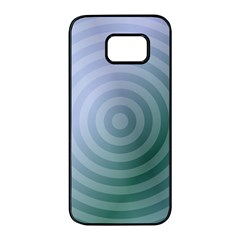 Teal Background Concentric Samsung Galaxy S7 Edge Black Seamless Case by Nexatart