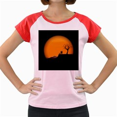 Couple Dog View Clouds Tree Cliff Women s Cap Sleeve T Shirt