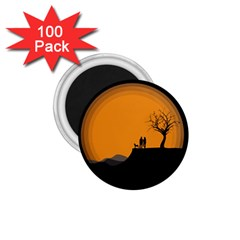 Couple Dog View Clouds Tree Cliff 1 75  Magnets (100 Pack)  by Nexatart
