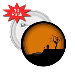 Couple Dog View Clouds Tree Cliff 2 25  Buttons (10 Pack)
