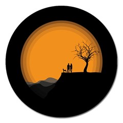 Couple Dog View Clouds Tree Cliff Magnet 5  (round)