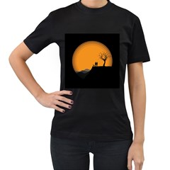 Couple Dog View Clouds Tree Cliff Women s T Shirt (black) (two Sided)