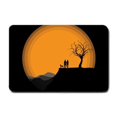 Couple Dog View Clouds Tree Cliff Small Doormat