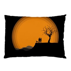 Couple Dog View Clouds Tree Cliff Pillow Case