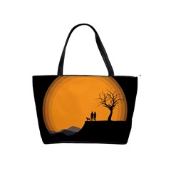 Couple Dog View Clouds Tree Cliff Shoulder Handbags by Nexatart