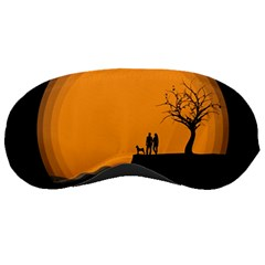Couple Dog View Clouds Tree Cliff Sleeping Masks
