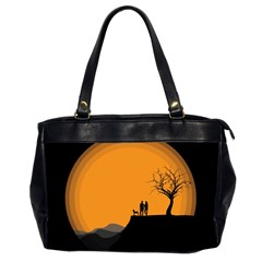 Couple Dog View Clouds Tree Cliff Office Handbags (2 Sides)