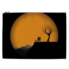 Couple Dog View Clouds Tree Cliff Cosmetic Bag (xxl)  by Nexatart