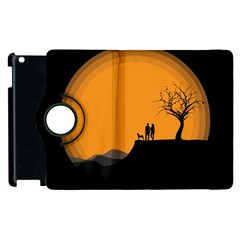 Couple Dog View Clouds Tree Cliff Apple Ipad 3/4 Flip 360 Case by Nexatart