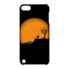 Couple Dog View Clouds Tree Cliff Apple Ipod Touch 5 Hardshell Case With Stand